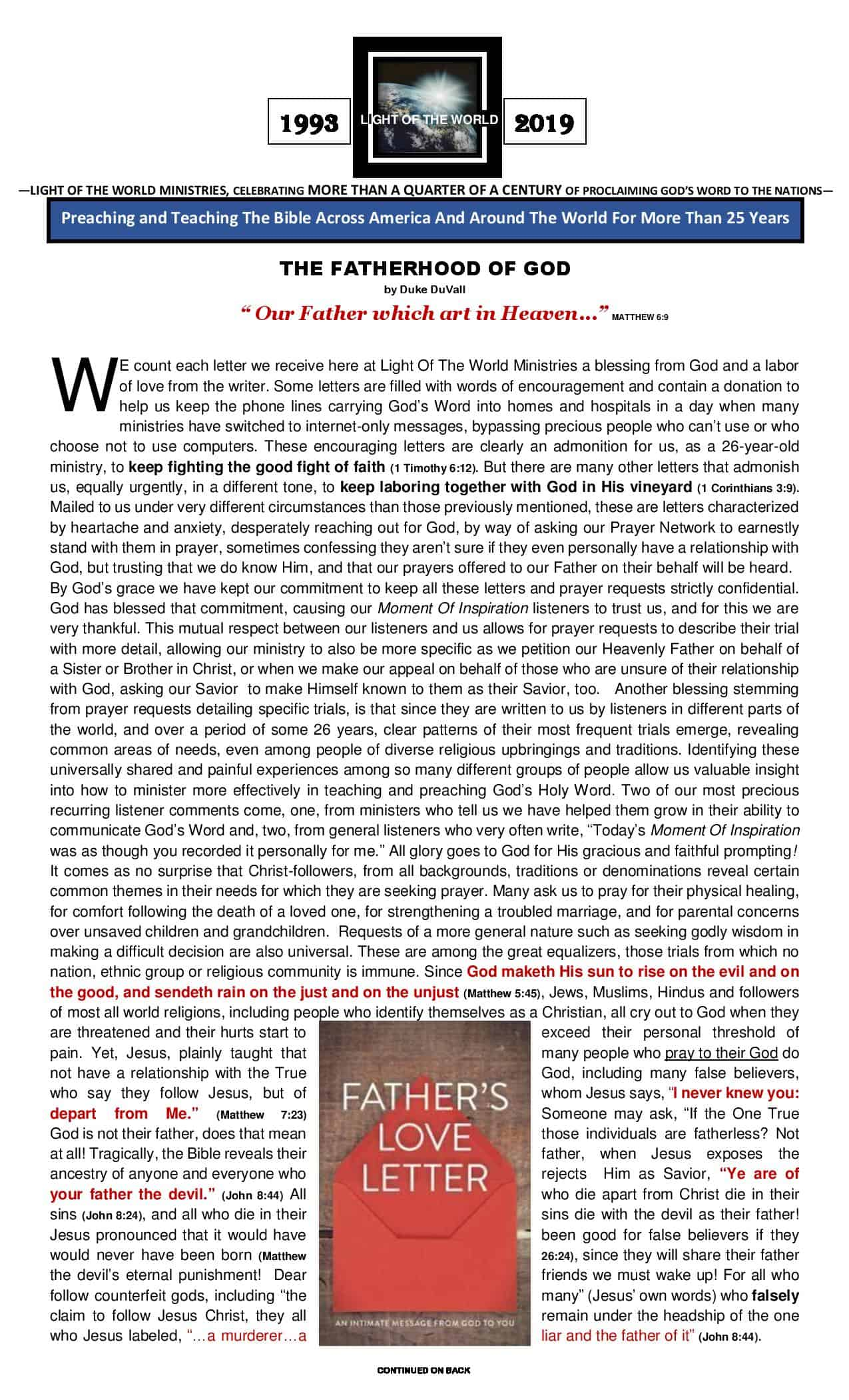LOTW Fathers Day 2019 Newsletter - Page 1